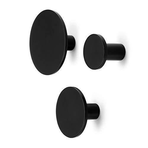 Metal Dot Decorative Wall Hooks Black Set of 3 - Coat Hooks Bathroom Towel Hanger Entryway Hooks
