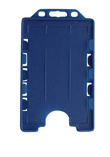 5 x Tarjeteros de plástico duro, color azul, para 1 tarjeta en formato vertical