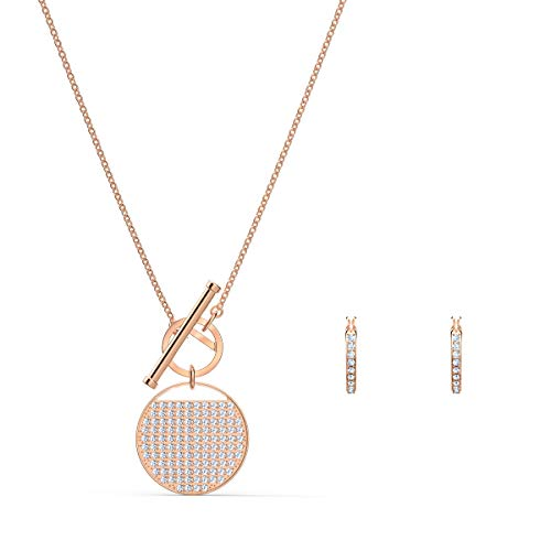 Swarovski Ginger T Bar Set, Weiß, Rosé vergoldet