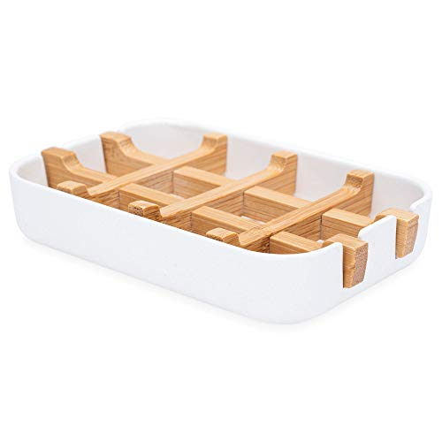 SaaGiio Bamboo Soap Holder (Pack of 1) in White - Durable Anti-Mould Natural Bamboo Soap Dish With Eco-Friendly Materials - Antibacterial Draining Soap Dish For Longer Lasting Soap - Soap Tray Dish