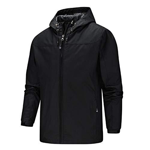 Qianduoduo888 Chaqueta para hombre con capucha y cortavientos, impermeable, transpirable, para exteriores, senderismo, senderismo, senderismo, ocio, multibolsillos (tamaño: XXXXL, color: negro)