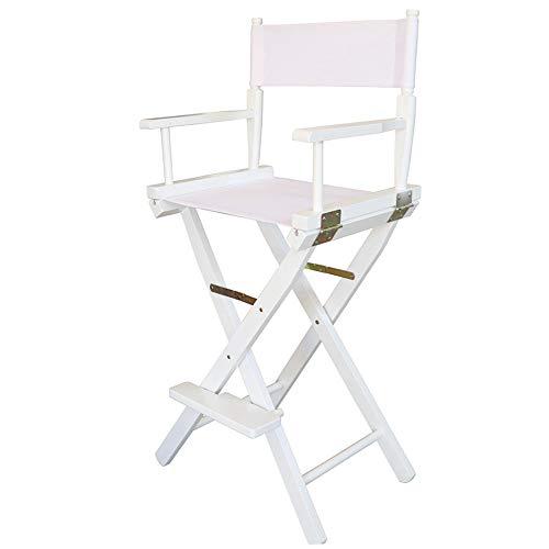 Yangman Regiestoel, inklapbaar, draagbaar frame van beukenhout, opvouwbare professionele make-up artieststoel, met voetensteun, wit