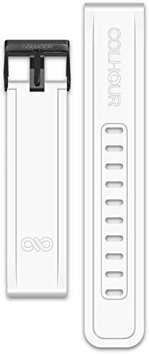 Correa Silicona 20mm Recambio para Samsung Gear Sport S2/Garmin Vivoactive 3/Garmin Vivomove HR/Motorola Moto 360/Huawei Watch 2- Sistema facil Intercambio sin Herramientas - Hebilla Acero Inoxidable
