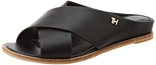 Tommy Hilfiger Damen Feminine Leather Low Wedge Zehentrenner, Schwarz (Black Bds), 38 EU