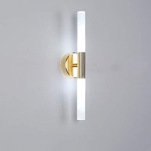 SANTITY Lámpara de Pared 5W LED Apliques de Pared Moderna para Salón Dormitorio Escalera Pasillo Luz de Pared Interior G9 Iluminación de Decoración en Acrílico, Dorado L40CM,Cold White Light