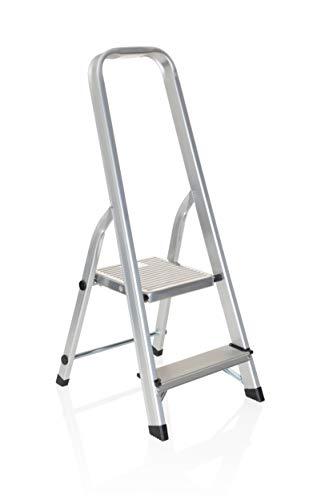 hjh OFFICE 801102 Klappleiter SOLID I Aluminium Trittleiter mit 2 Stufen und Sicherheitsbügel, bis 150kg belastbar