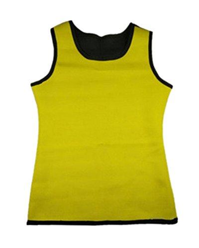 GODGETS Faja Reductora Adelgazante Hombre Neopreno Camiseta Reductora Compresion de Sauna Deportivo Amarillo Negro 2XL