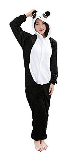 Mescara Einhorn Kostüm Pyjama Panda Damen Winter Karnevalumzüge Schalfanzug Jumpsuit Cosplay Anzug Hund Overall für Fasching Karneval Theater Halloween Pyjama-Party (Black, S(Höhe:145-154CM))
