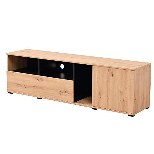 Simon Mobile Porta TV, Wood, Rovere e Nero, Medium