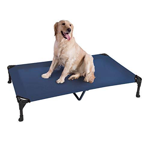 Veehoo Kühl Erhöhte Hundebett, Hundeliege Outdoor für Klein, Mittelgroße, Grosse Hunde, aus Waschbar & Dauerhaft Textilene Netzstoff, XL, Blau