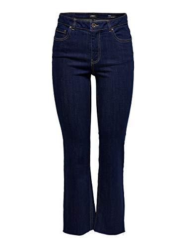 ONLY Damen Cropped Jeans ONLKenya Mid Sweet Flared 2832Dark Blue Denim