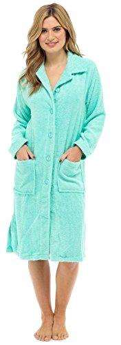 Tom Franks LN727 Damen Morgenmantel aus reiner Baumwolle mit Knopfleiste Gr. X-Large, mint