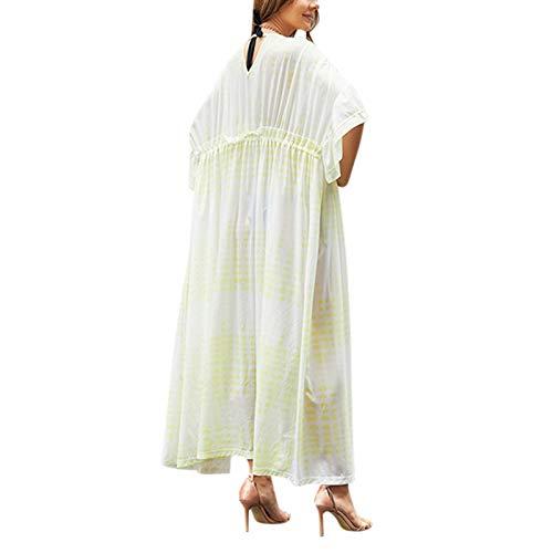 Crazyfly Camiseta de playa con cintura y media manga con volantes para mujer, protección solar, para verano, talla libre