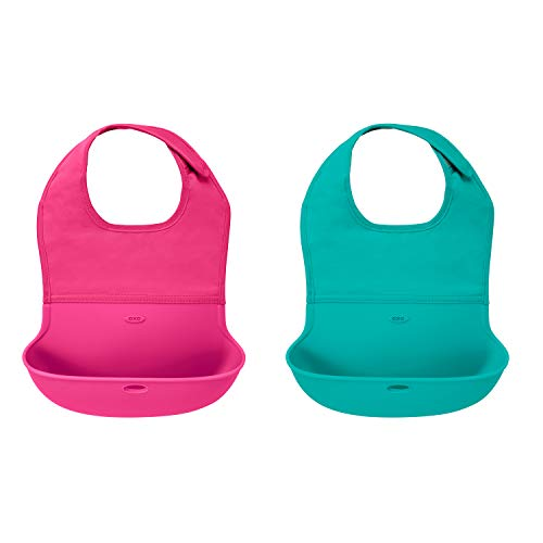 OXO Tot 2Piece Waterproof Silicone Roll Up Bib with ComfortFit Fabric Neck Pink/Teal