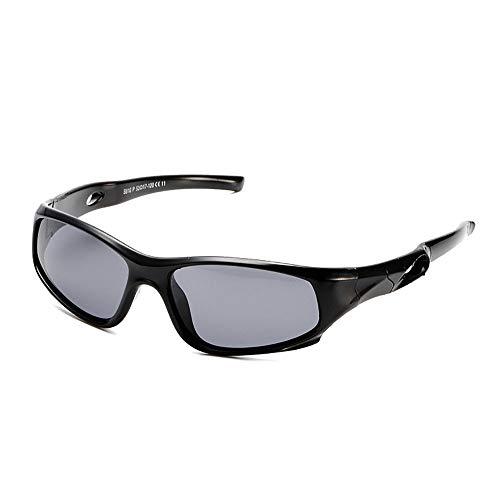 Suertree Kinder Polarisierte Sonnenbrille Sport Silikon Sonnenbrille Verspiegelte Linse UV-Schutz im Freien Golf Radfahren Angeln Wanderbrille Unisex black