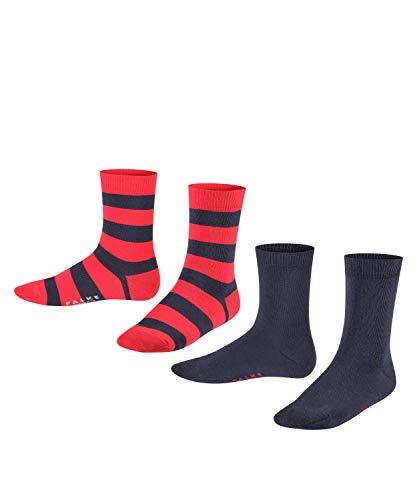 FALKE Unisex Kinder Happy Stripe 2-Pack K SO Socken, Blau (Marine 6120), 31-34 (7-9 Jahre) (2er Pack)