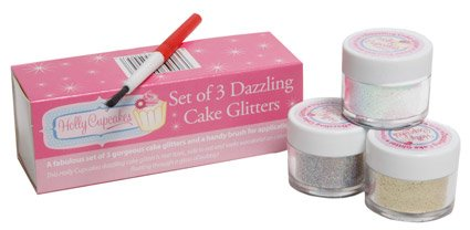 Set of 3 Holly Cupcakes Stunning Sparkly Decorating Glitters with Application Brush: Silver, Gold and Iridescent White