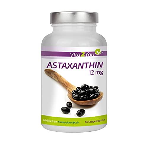 Astaxanthin 12mg - 60 Kapseln - Natürlich aus Blutregenalgen (Haematococcus pluvialis) - Hochdosiert - 4 Monatspackung - Premium Qualität