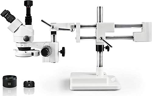 Vision Scientific Simul-Focal Trinocular Zoom Stereo Microscope, 10x Widefield Eyepiece, 0.7X—4.5X Zoom Range, 7X—45x Magnification Range, Double Arm Boom Stand 5MP WiFi Digital Camera