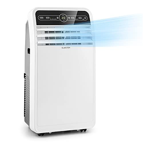 Klarstein Metrobreeze New York 7k - Aire acondicionado portátil 3 en 1, Humidificador de aire, Ventilador, 7.000 BTU 2,1 kW, 800 W de potencia, Eficiencia energética A, Temporizador, LED, Blanco