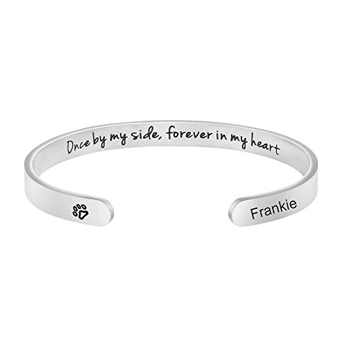 MEMGIFT Personalized Dog Memorial Cuff Bracelets Remembrance Loss of Pets Jewelry Sympathy Gifts for Dogs Lover Women Teen Girl Daughter Wife Sister Friends Engraved Pets Name Frankie