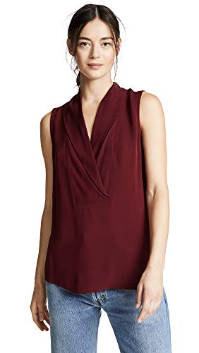 Theory Women's Shawl Collar Shell Top, Deep Mulberry, Red, Small