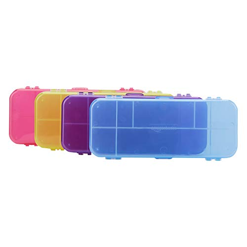 AmazonBasics Pencil Case - Pack of 4, Multi-Color