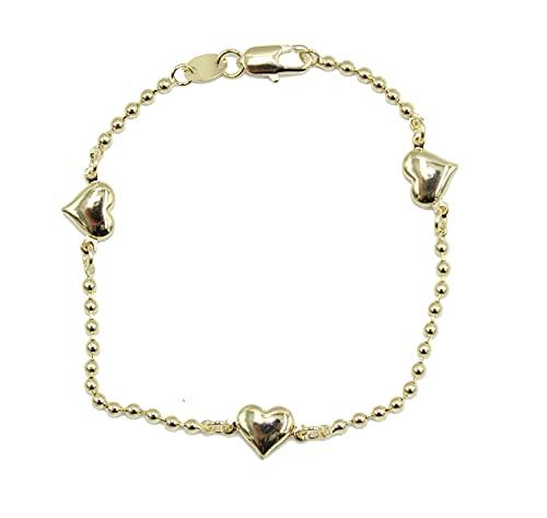 Pulsera de corazón chapada en oro de 18 quilates – Pulsera de corazón de 17,78 cm