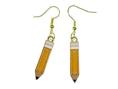 Miniblings Pendientes de lápiz, hechos a mano, joyas de moda, lápices de colores, colgantes de abalorios, pulsera colgante, escuelas, dibujos, esmaltados, color amarillo