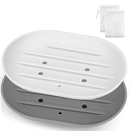 2Pcs Soap Dish for Shower, Bar Soap Holder Shower, Soap Saver Tray for Shower Bathroom Kitchen, Flexible Silicone Soap Dishes with Draining Tray, Keep Dry, Non-Slip, Easy Cleaning, White and Gray