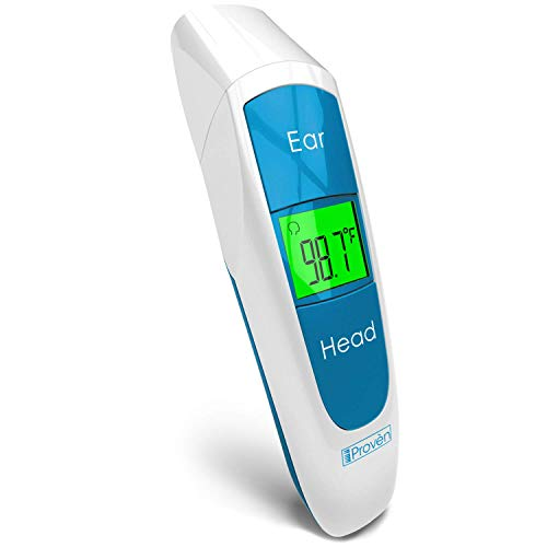 [New 2020 Model] iProven Baby Digital Thermometer Forehead and Ear - Quick Readings in 1 Second - with Fever Indicator and Backlight - DMT-316BLU