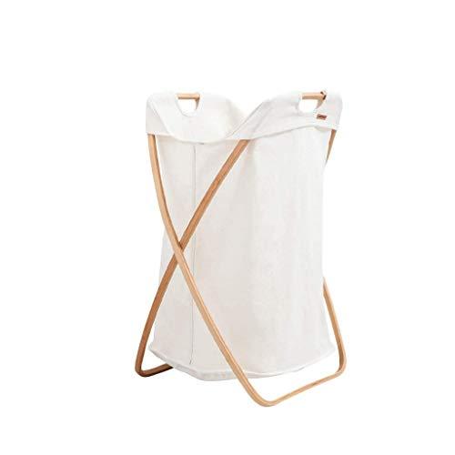NXYJD Nordic Tela de la Ropa Cesta, la Cesta de lavadero Plegable de Almacenamiento de la Ropa Sucia con Marco de Madera Baño Dormitorio Hogar