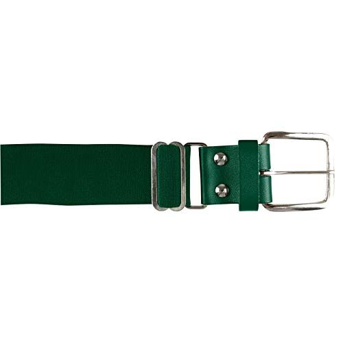 CHAMPRO Elastic Baseball Belt with 1.5-Inch Leather Tab (Forest, 28-52-Inch), Forest Green, Adult (A060FG)