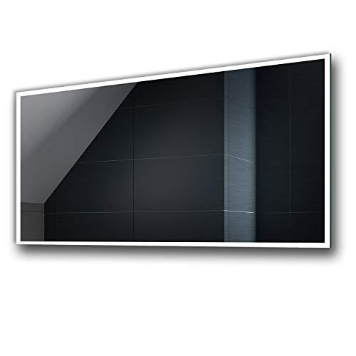 Badspiegel 120x70cm mit LED Beleuchtung - Wählen Sie Zubehör - Individuell Nach Maß - Beleuchtet Wandspiegel Lichtspiegel Badezimmerspiegel - LED Farbe zu Wählen Kaltweiß/Warmweiß L49