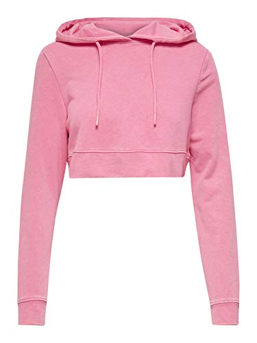 ONLY Damen Pullover Onlnew Tanya Hood Cropped Hoodie kurzer Sweater, Farbe:Pink, Größe:M