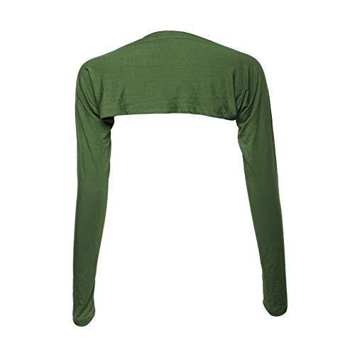 Daytwork Clothing Women Cardigans - Womens Islamic Muslim Bolero Shrug Long Sleeved Cover Arm Tops Shoulder Sleeve Shawl Wild Fashion Party Dress Dark Green