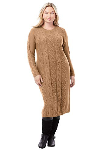 Jessica London Women's Plus Size Cable Sweater Dress - 30/32, Brown Maple
