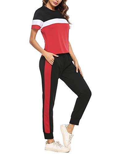 Irevial Tute Ginnastica da Donna,comode Completo Sportivo Donna Fitness, Elegante Maniche Corte T-Shirt e Pantaloni con Tasche Sportwear Due Pezzi,Tuta Donna per casa Yoga Jogging,Rosso,XXL