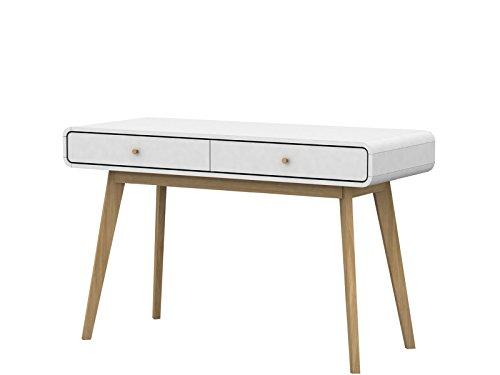 Designer Schreibtisch mit Schubladen Computertisch PC Laptop Bürotisch Konsolentisch Arbeitstisch Holzbeine Skandinavisches Design 120 x 50 x 77 cm (weiß/Natur)