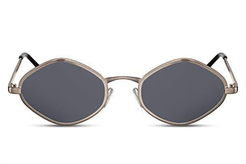Cheapass Sonnenbrille Diamant Hexagonal Gold-en Schwarz UV-400 Klein Schmal Designer-Brille Metall Damen Frauen