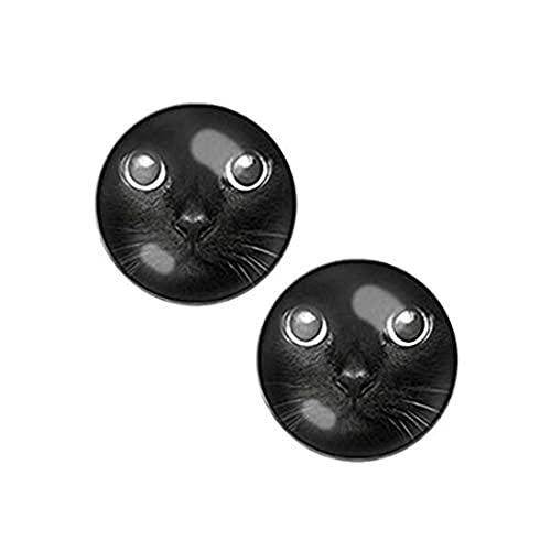 Youkeshan Pendientes de tuerca para hombre con cara de gato negro