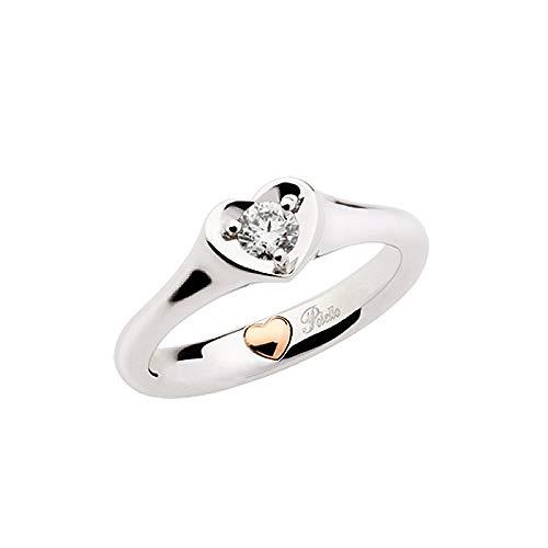Anillo solitario matrimonial de Oro Blanco con Corazón Rosa De 18CT de mujer polello g2886br1, 16