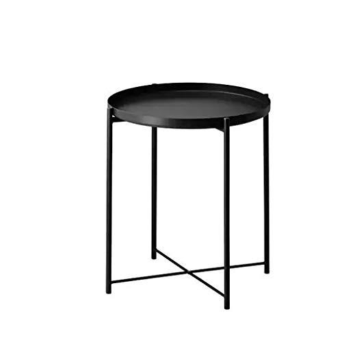 Mesa de centro pequeña Sofá moderno Mesa auxiliar Pequeña mesa de centro Sala de estar Balcón Mesa redonda de metal Bandeja 43 cm × 43 cm × 52 cm Blanco y negro pequeñas mesas de centro sala de estar