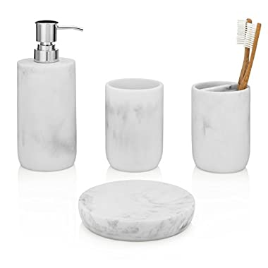EssentraHome Blanc Collection 4-Piece White Bathroom Accessory Set. Complete Set Includes: Soap/Lotion Dispenser, Toothbrush Holder, Tumbler, and Soap Dish