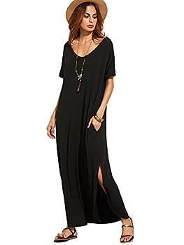 MakeMeChic Women s Boho Maxi Short Sleeve Split Pockets Tie Dye Long Dress Black Solid S
