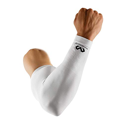 McDavid Elite Kompressionsarmmanschette (Single Sleeve) Shooter Arm für Basketball und andere Sportarten. Herren und Damen. Schwarz oder Weiß, weiß, Medium