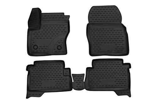 2013-2019 Ford Escape Floor Mats Front & 2nd Row Seat Liner Set 3D Custom Fit All-Weather Full Set Liners (Black)