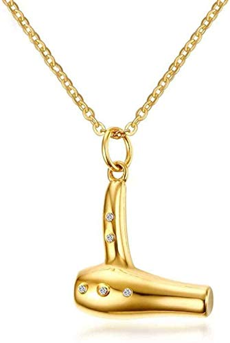 NC110 Collar con Colgante 28 mm Secador de Pelo de Diamantes de imitación de Acero Inoxidable Dorado Joyería Europea Americana Hombres creativos Varias Tendencias YUAHJIGE