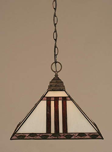 Chain Pendant w Purple & Metal Leaf Glass