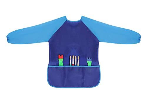 Malschürze Kinder Wasserdicht Kinder Malkittel Bastelschürze Atmungsaktiv Kinderschürze mit Langarm und 3 Taschen für Malen, Kochen, Laboraktivität, Essen, Alter 3-8 Jahre